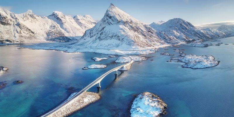 Winterlandschap-Lofoten-spitse-bergen-en-bruggen-tussen-eilanden