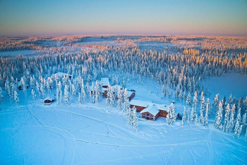 wit sneeuwtapijt rondom de Pinetree Lodge in Zweeds Lapland