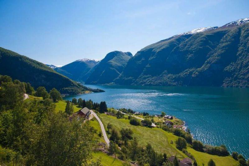 Uitzicht in Aurland in Noorwegen met Nordic