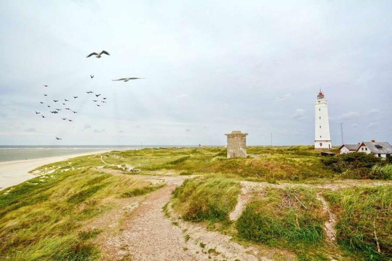 Vuurtoren in Jutland in Denemarken met Nordic