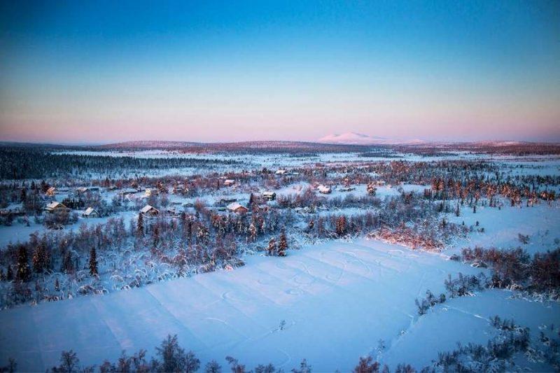 Zweeds Lapland Lodges vanuit de lucht met Nordic