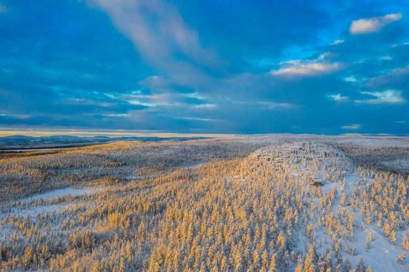 Het uitzicht vanuit de Lapland View Lodge overdag