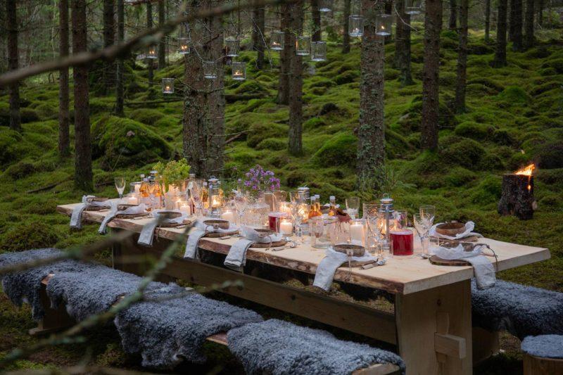 Diner tafel middenin de natuur Zweden