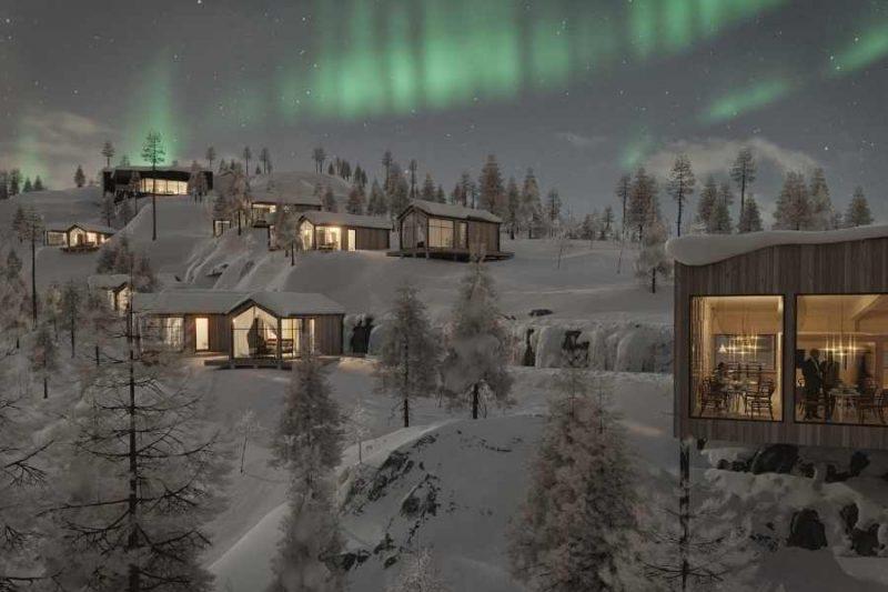 Cabins van de Lapland View Lodge tegen de berg aangebouwd (artist impression) ©Explore The North